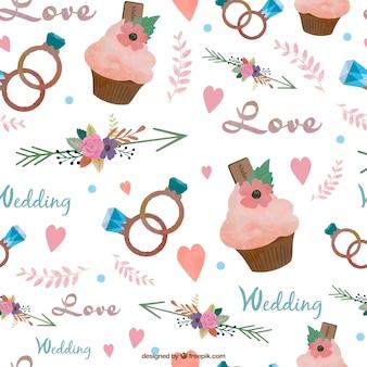 Capcake acuarela y elementos de la boda patrón