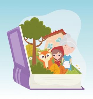 Caperucita roja abuela lobo casa bosque libro cuento de hadas ilustración de dibujos animados