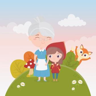Caperucita roja con abuela y lobo plantas de la naturaleza ilustración de cuento de hadas