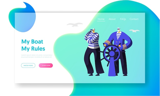 Capitán al volante, marinero con chalecos despojados mirando la página de inicio del sitio web de binoculares.
