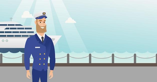 Capitán de barco caucásico en uniforme en el puerto.