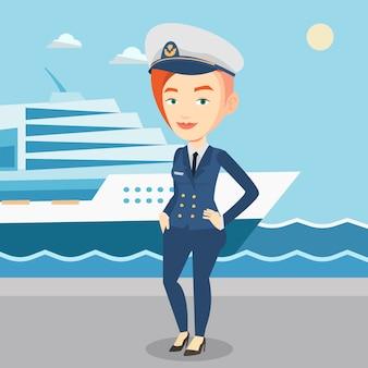 Capitán de barco sonriente en uniforme en el puerto.