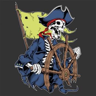 Capitán calavera de pirata en rueda aislado.