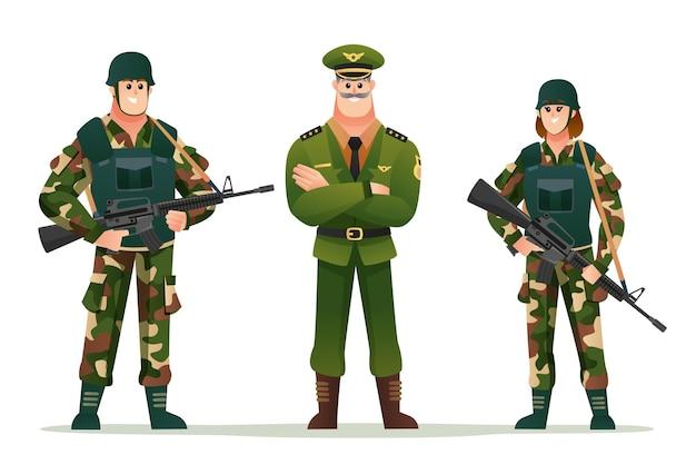 Capitán del ejército con soldados de hombre y mujer con conjunto de caracteres de armas de fuego