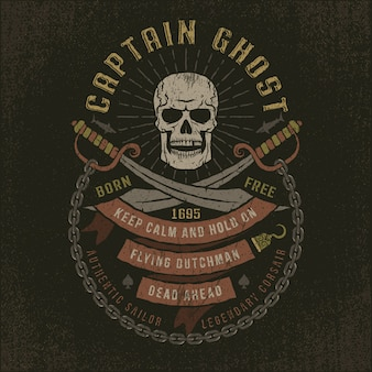 Capitán fantasma - cráneo grunge pirata logotipo