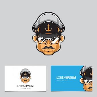 Capitán hombre mascota y tarjetas de visita