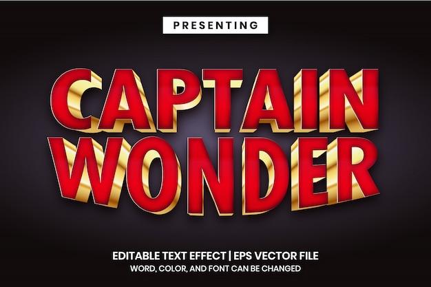 Capitán maravilla: efecto de texto editable de estilo de logotipo de película de superhéroe