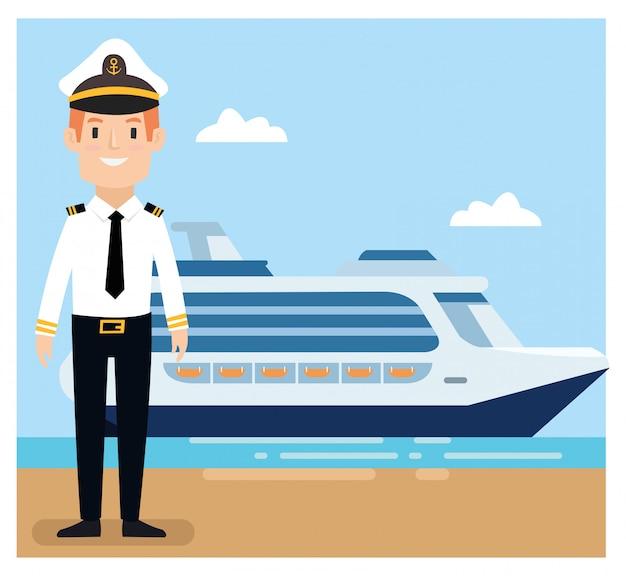 Capitán de la nave usa uniforme de pie en el puerto.