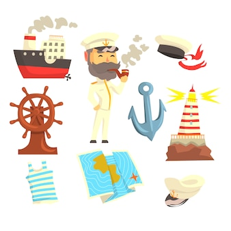 Capitán con pipa de fumar, establecido para el diseño de la etiqueta.