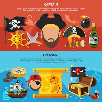 Capitán pirata banners de dibujos animados