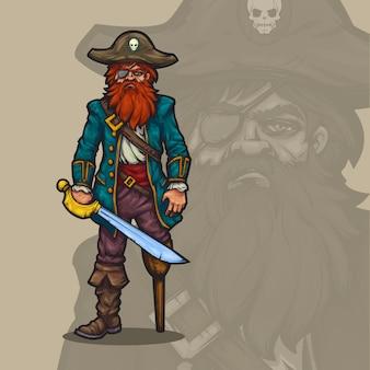 Capitán pirata de dibujos animados