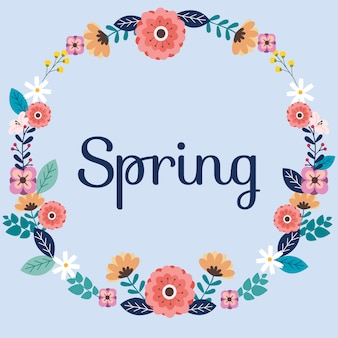 Capítulo la flor en el fondo azul y el texto de la primavera.