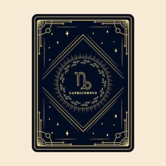 Capricornio signos del zodíaco tarjetas del horóscopo constelación estrellas tarjeta del zodíaco con marco decorativo