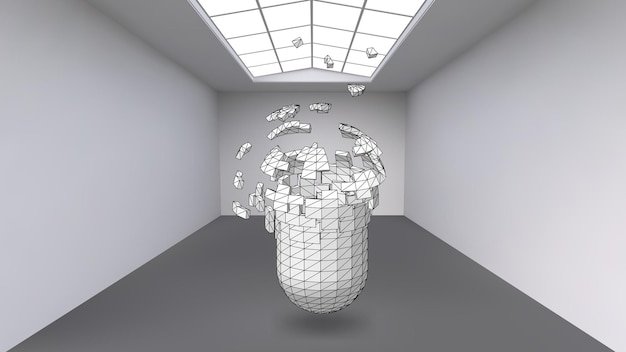 Cápsula colgante de muchos pequeños polígonos en una gran habitación vacía. el espacio expositivo es un objeto abstracto, de forma esférica. la cápsula en el momento de la explosión se divide en partículas finas.