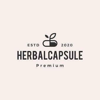 Cápsula de hierbas medicina hipster vintage logo vector icono ilustración