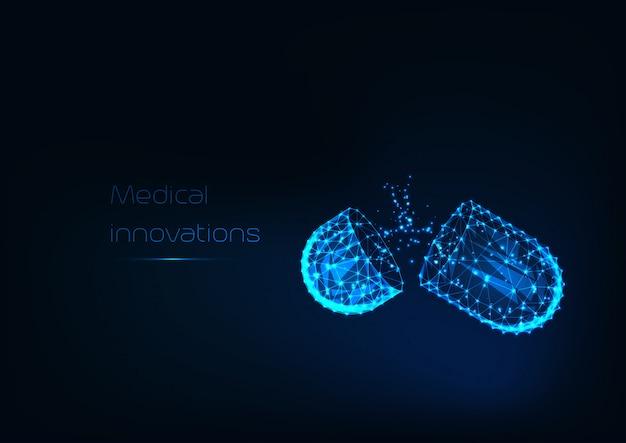 Cápsula de medicamentos abierta poligonal baja brillante con drogas en polvo aisladas sobre fondo azul oscuro.