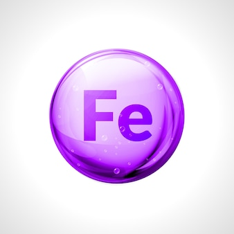 Cápsula de píldora brillante de mineral ferrum. símbolo de fórmula de hierro fe. sustancia nutricional del complejo de vitamina ferrum.