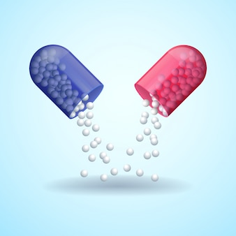 Cápsula de píldora médica completa roja y azul con moléculas