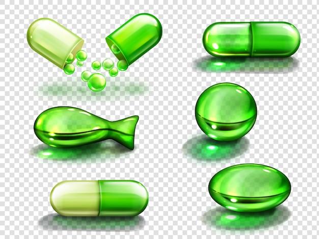 Cápsula verde con vitamina, colágeno o medicamento.
