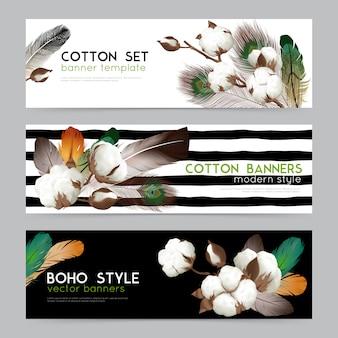 Cápsulas de algodón con plumas estilo boho.