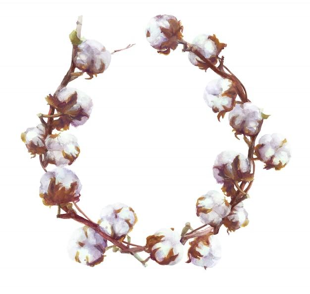Las cápsulas de algodón vector acuarela rama y corona de pintura. conjunto botánico dibujado a mano