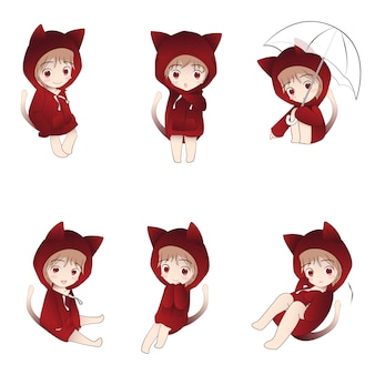 Capucha de gato lindo personaje de dibujos animados en acciones