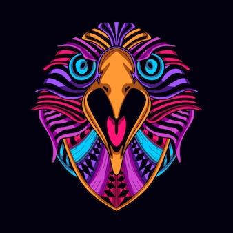 Cara de águila de color resplandor