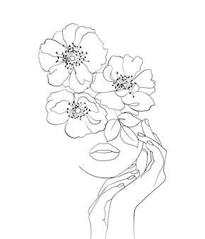 Cara de belleza con arte de dibujo de líneas de flores. logotipo de salón de belleza. símbolo de la naturaleza de la cosmética.- ilustración vectorial