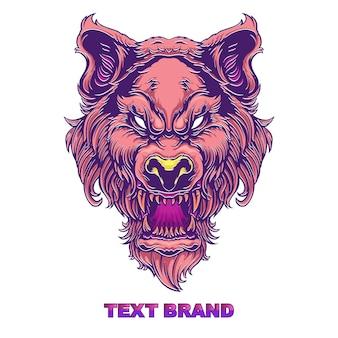 Cara, cabeza, lobo, logotipo, aislado, blanco
