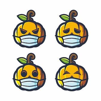 Cara de calabaza desgaste de halloween mascarilla quirúrgica dibujo