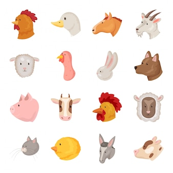 Cara de conjunto de iconos de dibujos animados de animales