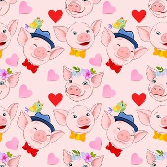 Cara de cerdo lindo con patrón transparente de forma de corazón