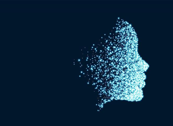 Cara de tecnología digital de partículas para el concepto de inteligencia artificial