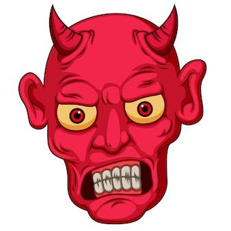 Cara de diablo de estilo de dibujos animados rojos