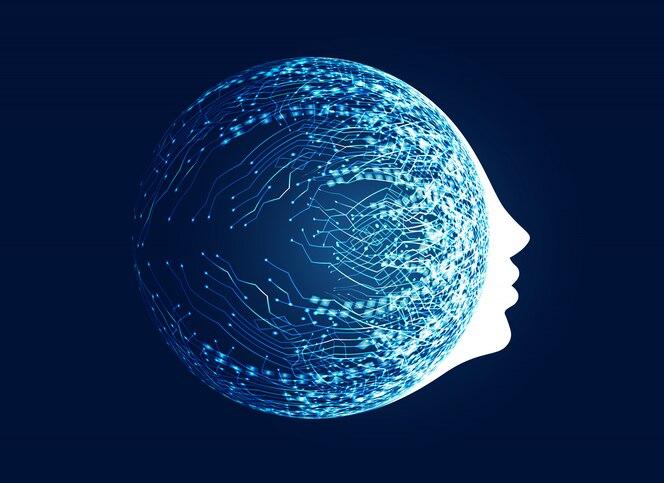 Cara digital con concepto de red de circuito