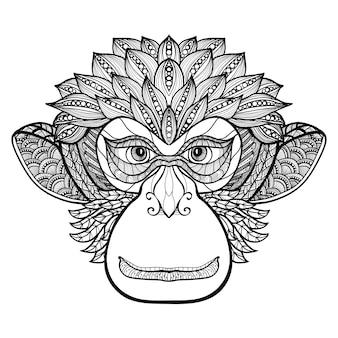 Cara del doodle del mono
