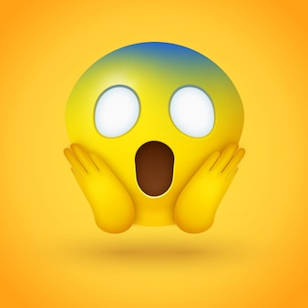 Cara emoji gritando de miedo