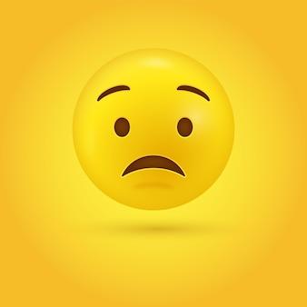 Cara de emoji preocupado en estilo moderno 3d
