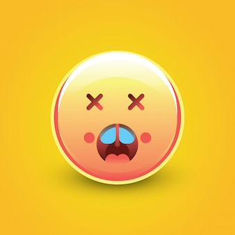 Cara emoji shock con fondo amarillo