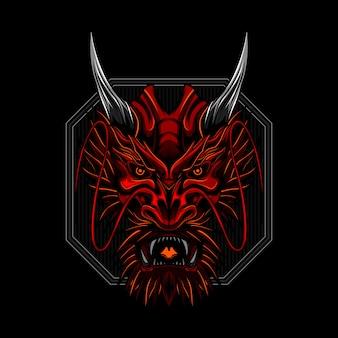Cara enojada del dragón rojo