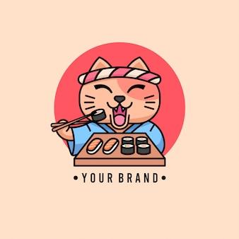 Cara feliz gato comiendo sushi logo