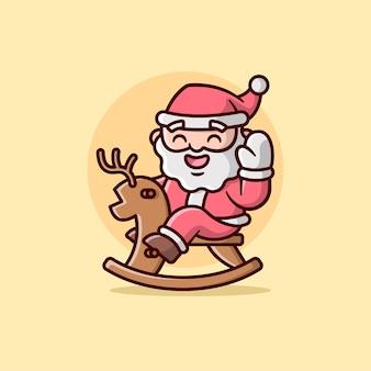 Una cara feliz papá noel montando una ilustración de ciervo de madera