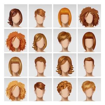 Cara femenina masculina avatar perfil cabeza cabello conjunto de iconos en el fondo
