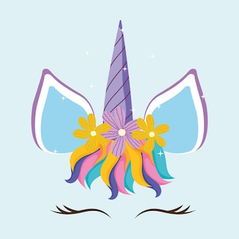 Cara de flores de unicornio