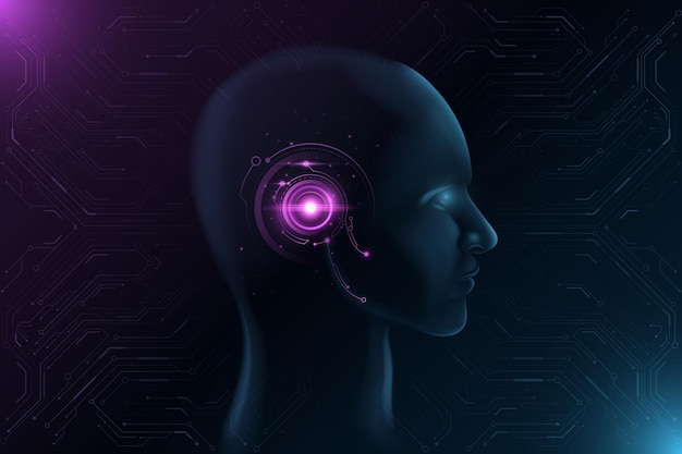Cara futurista con interfaz hud brillante. concepto de inteligencia artificial.