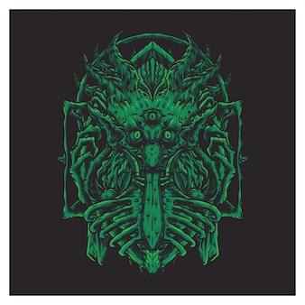 Cara gigante verde de miedo