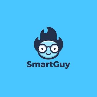 Cara de hombre inteligente genio con gafas y cabello desordenado para la educación