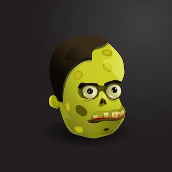 Cara de la ilustración del vector del zombi