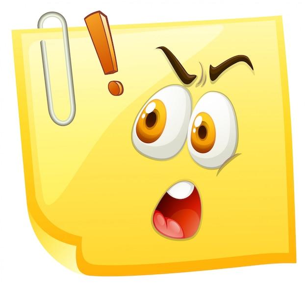 Cara impactante sobre papel amarillo