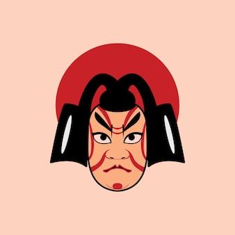 Cara de kabuki japonés